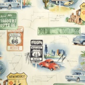 Nicole's Prints - Get Your Kicks (on Route 66) Natural Yardage