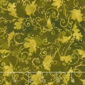 Autumn Air - Blustery Day Dark Olive Metallic Yardage