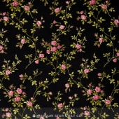 Poppies - Delicate Vine Black Yardage