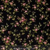 Poppies - Delicate Vine Black Yardage