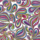 Cat - i - tude - Paisley Style White Multi Yardage