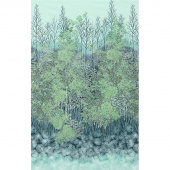 A Walk on the Path - Teal Trees Metallic Panel