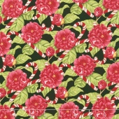 Christmas in the Wildwood - Flowers and Candy Canes Black Yardage