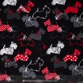 Scottie Love - Dottie Scottie Black Flannel Yardage