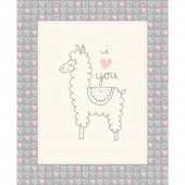 Soft & Sweet - Grey & Yellow Llama Love Grey Flannel Panel