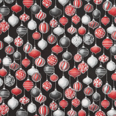 Winter's Grandeur 7 - Scarlet Ornaments Metallic Yardage