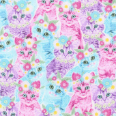 Cats - Cats in Flower Crowns Multi Yardage