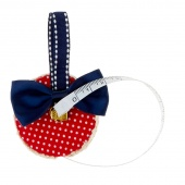 Red and White Fabric Covered Measuring Tape