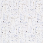 Interlude - Words Allover White Gray Yardage