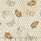 Love 4 Cotton - Moths on Chicken Wire Ivory Yardage
