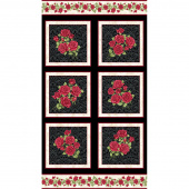 A Festival of Roses - Festive Roses Black Pearlized Panel