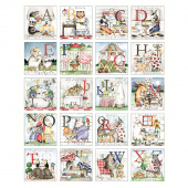 Hungry Animal Alphabet - Alphabet Animal Patch Multi Digitally Printed Panel