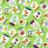 Novelty - Bugs In Jars Lime Yardage