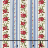 Red & Blue...and Roses Too! - Rose Ribbons Blue Yardage