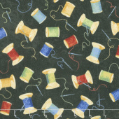 A Stitch in Time - Primary Brights Thread Toss Black Multi Yardage