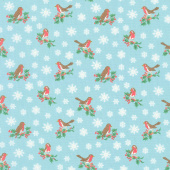 Festive Collection - Jolly Robin Blue Yardage