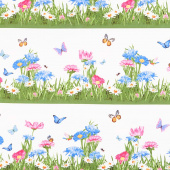 Meadow Meow - Grass Border White Yardage