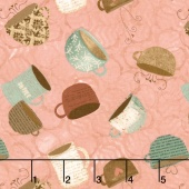 But First, Coffee! - Tossed Coffee Cups Pink Yardage