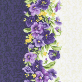 Emma's Garden - Pansy Stripe Purple & Cream Yardage