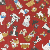 Home is Where the Dog Is! - Dog Allover Red Yardage