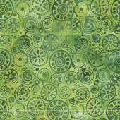 River Valley Batiks - Circles Green Blue Yardage