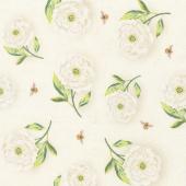 Floral Serenade - Peony Toss Cream Yardage