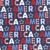 Red, White and Starry Blue - America Navy Yardage