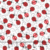 Novelty - Little Red Ladybugs White Yardage
