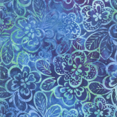 Parfait Batiks - Blueberry Flowers Yardage