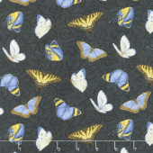 My Sunflower Garden - Tossed Butterflies Black Multi Yardage