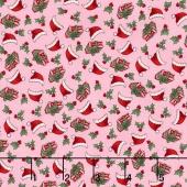 Kewpie Christmas - Christmas Ditzy Pink Yardage
