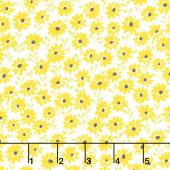 Sunny Bee - Daisies White Yardage