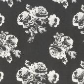 Urban Cottage - Cotton Prints Urban Rose Black Yardage