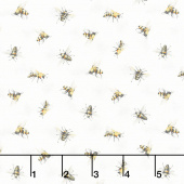 Scented Garden - Tossed Bees White Multi Yardage