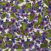 Arabella - Packed Violets Natural Yardage