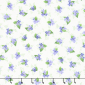 Elizabeth - Flowers Tossed Natural Yardage