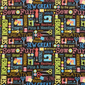 Sew Excited - Sew Wordy Black Yardage