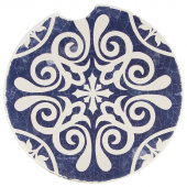 Indigo Patterns Car Coaster - Scroll Medallion