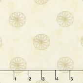 Shimmer Koi Pond - Mini Spirograph Cream Metallic Yardage