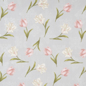 Totally Tulips - Pink & Grey Tulip Medallion Grey Multi Pearlized Yardage