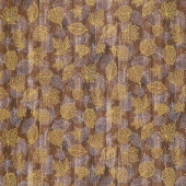 Autumn Beauties - Leaves Wood Texture Nutmeg Metallic Yardage
