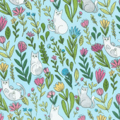 Catnip - Flower Cats Aqua Yardage
