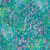 Painterly Petals - Flowers Green Yardage