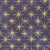 Grunge Seeing Stars - Eggplant Metallic Yardage