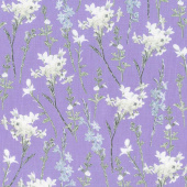 Violet Twilight - Shimmery Wild Flowers Purple Pearlized Yardage