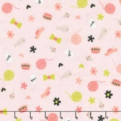 Meow - Meow Toss Pink Yardage
