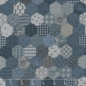 Fade In - Tiny Hexies Indigo Yardage