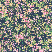 Watercolor Wishes - Petal Party Navy Pink Metallic Yardage