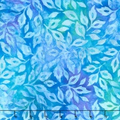 Artisan Batiks - Greenhouse 3 Scattered Leaves Cornflower Yardage