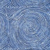 Tonga Batiks - Colorwheel Rainbow Dotty Spiral Navy Yardage